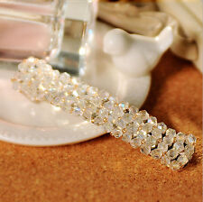 White Fashion Crystal Rhinestone Barrette Hair Clip Women Girls Pretty Hairpin
