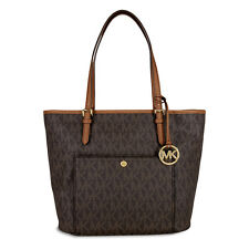 Michael Kors Jet Set Large Top Zip Snap Pocket Tote - Brown