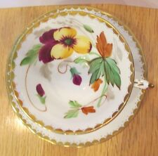 VINTAGE TUSCAN BONE CHINA CUP & SAUCER HAND PAINTED AFRICAN VIOLETS & GOLD TRIM