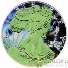 2014 1 Oz Ounce Silver American Eagle Coin Colorized Space GLOW IN THE DARK 999