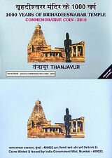 "Proof Set 2010 Coin 1000 & 5 Rupee ""1000 Years Brihadeeswarar Temple at Tanjore"""