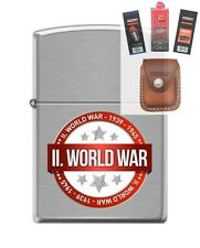 Zippo 200 world war II 1939-1945 Lighter + FUEL FLINT WICK POUCH GIFT SET