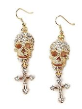 Skull and Cross Crystal Gold Plated Pierced Dangle Earrings