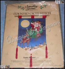 Candamar SANTA BANNER Counted Cross Stitch Christmas Wall Hanger Kit – OOP