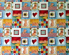 Alexander Henry Cotton fabric Dog collagfe puppy heart half yard cut 1/2 DeLeon