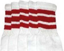 "30"" OVER THE KNEE WHITE tube socks with RED stripes style 1 (30-7)"