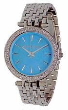 NWT WOMENS MICHAEL KORS (MK3515) DARCI SILVER TURQUOISE PEARL GLITZ DIAL WATCH