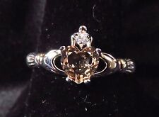 Sterling 925 Silver SF Size 10 Claddagh Ring 7mm Morganite Heart & 2mm WT