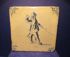 Antique Dutch Delft Tin Glaze Soldier Tile Circa 1640