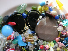 #Bag3 Vintage Beads Huge Lot Assemblage Findings Connector Cabs Glass Cabochons