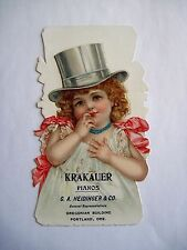 """Large Stand-Up Victorian Trade Card for """"Krakauer Pianos"""" - Frances Brundage *"""