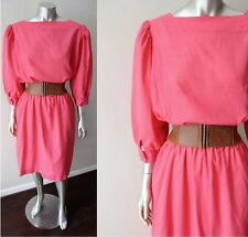 Button Back VIntage 70s 80s Retro Blouson Secretary Pink Dress Sz M