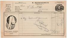 1929 Invoice B. Rosenzweig Wholesalers Notions,Cigars,Tobaccos Spring Valley, Il