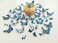 48 Edible Navy Heaven Butterflies Pre Cut Wafer Cupcake Toppers