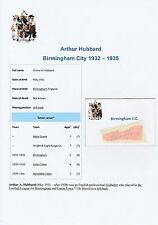 ARTHUR HUBBARD BIRMINGHAM CITY 1932-1935 VERY RARE ORIGINAL HAND SIGNED CUTTING