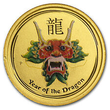 2012 1/20 oz Gold Australian Lunar Year of the Dragon Colorized Coin -SKU #71756
