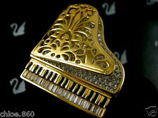 SIGNED SWAROVSKI CRYSTAL 22KT GOLD PLATING  PIANO PIN~BROOCH RETIRED NIB