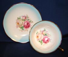 Royal Albert Cup & Saucer Pink Roses On Shaded Blue
