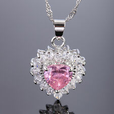 Melina Jewelry Heart Pink Sapphire White Gold Plated Gp Pendant Necklace Chain