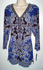 JM COLLECTION TUNIC TOP SIZE XL MULTI COLOR STRETCH EMBELLISHED NEWw/TAG