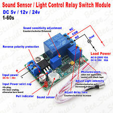DC 5V 12V 24V Sound Light Detect Control Relay Switch Delay Time Turn OFF Module