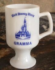 VINTAGE WALT DISNEY WORLD PERSONALIZED GRAMMA MILK GLASS PEDESTAL MUG CASTLE