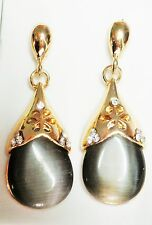 Grey Opaque Glass & Gold Tone 4cm Drop Earrings on Post & Butterfly Backs