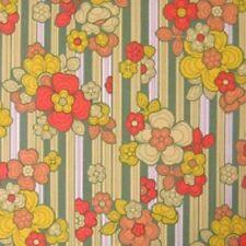 Fab 60s 70s Original Floral Wallpaper in perfect vintage GREEN ORANGE