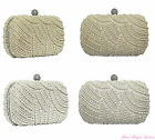 New Womens Full pearl diamante Evening Clutch Bag Ivory Cream Champagne silver