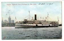 1908 postcard Steamer Plymouth from Providence to New York skyling Missent