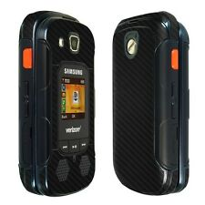 Skinomi Black Carbon Fiber Skin+Clear Screen Protector for Samsung Convoy 4