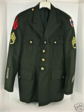 US Army Dress Jacket with PATCHES:Airborne Sp Op, hash stripes & bars, rank E6