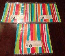 3 PKGS HALLMARK WAVY STRIPES BIRTHDAY PARTY GIFT WRAPPING PAPER