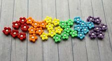 30 Edible SugarPaste Flower Blossoms with Pearl Centre Cupcake Toppers-Rainbow