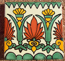 "50~Talavera Mexican 4"" tile kiln fired hand painted yellow Green art deco cream"