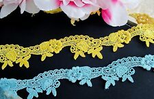 2 color / yellow and blue embroidered  lace trim/ribbon - price for 1 yard