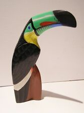 Carved Toucan Bird Ornament Hand Made 21cm Tall Light Wood, Fair Trade