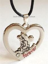 Minnie Mouse Crystal Heart Necklace Disney Black Cord Silver Plated USA Seller