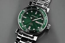Aragon A033GRN M Diver 50 Automatic Watch GREEN GUILLOCHE DIAL!!!!!!!