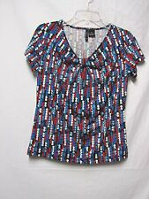 NEW DIRECTIONS PS Bust 38 Black Multi Modern print top shirt blouse