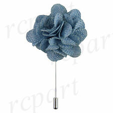 New in box formal Men's Suit chest brooch light blue fabric flower lapel pin