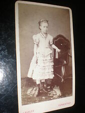 Cdv old photograph girl with book by Husser at Porrentruy Switzerland c1880s