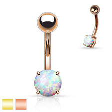 1 Pc 14K Rose Gold Plated White Opal Prong Set Navel Ring 14g 3/8""