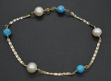 #BN138 NEW 14K Solid Yellow Gold 6mm Turquoise & Pearl Faceted Bead Bracelet 8''