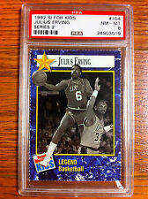 1992 Sports Illustrated For Kids Magazine Julius Erving Basketball Card PSA 8 SI