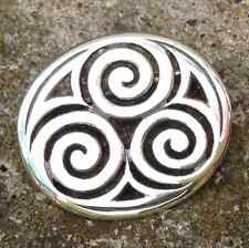 Sterling silver Celtic brooch pin Spiral trinity shamrock Irish design.Newgrange