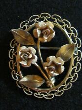 Beautiful Vintage Krementz Rose Brooch Pin in Filigree Frame