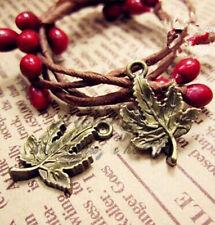 PJ212 15pcs Antique Bronze maple leaf Pendant Bead Charms Accessories wholesale