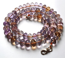 "250 CT 16"" Finest Natural Ametrine Faceted Rondelle BEADS NECKLACE 9 TO 10 MM"