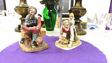 Christmas gifts for grandparents bisque figurines vintage. with grand kids set 2